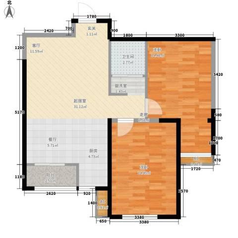 华门明筑2室0厅1卫0厨96.00㎡户型图
