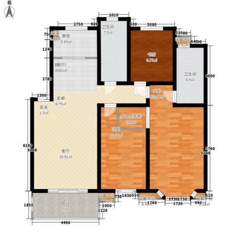 亚厦风和苑3室1厅2卫1厨137.00㎡户型图