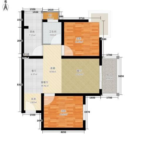 领先心城2室1厅1卫1厨81.00㎡户型图