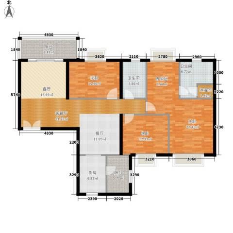 南国公馆3室1厅2卫1厨143.00㎡户型图