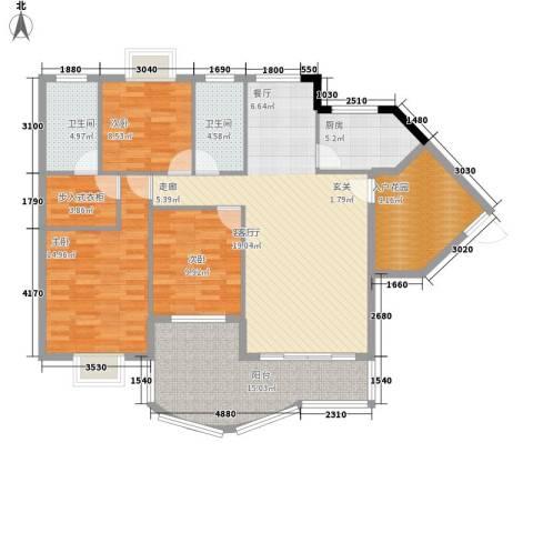 尚阳康城3室1厅2卫1厨153.00㎡户型图