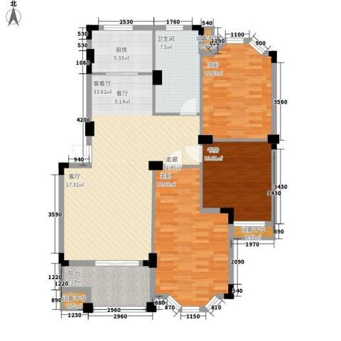 嘉禾绿洲3室1厅1卫1厨135.00㎡户型图