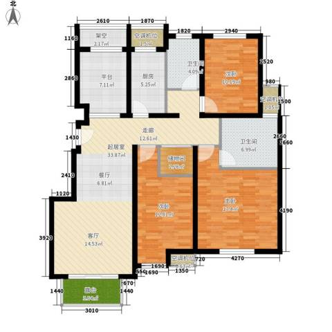 保利西塘越3室0厅2卫1厨126.00㎡户型图