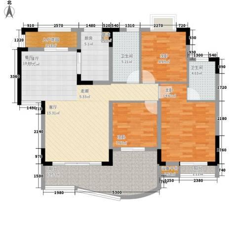 尚阳康城3室1厅2卫1厨98.00㎡户型图