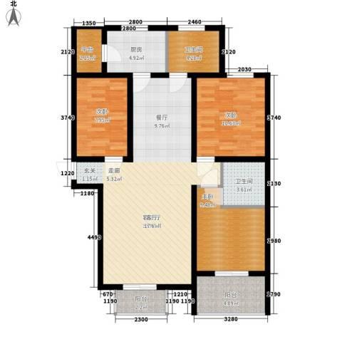 兰汀朝阳3室1厅2卫1厨129.00㎡户型图