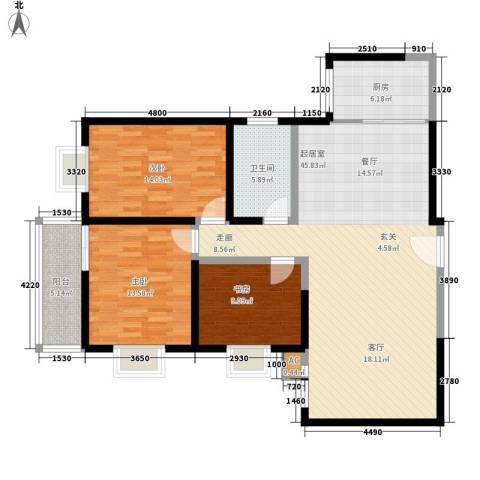 曲江春晓苑3室0厅1卫1厨122.00㎡户型图
