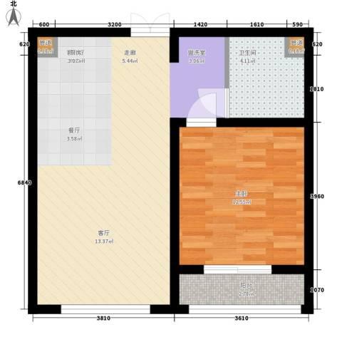 西双十贰城1室1厅1卫0厨67.00㎡户型图