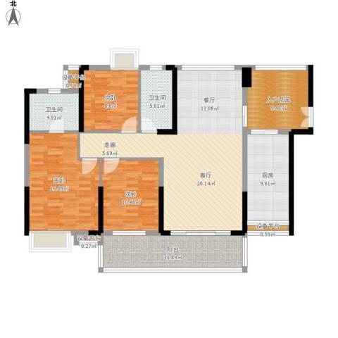 紫园3室1厅2卫1厨164.00㎡户型图
