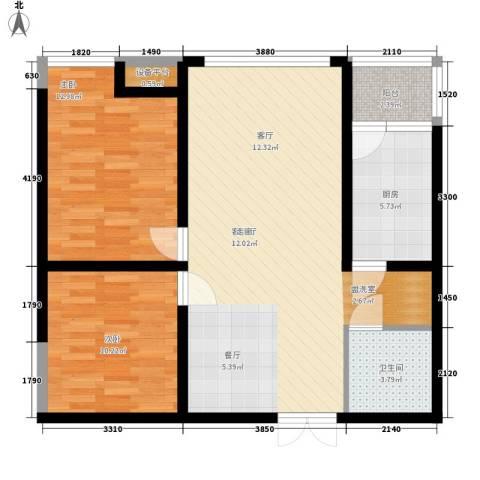 西双十贰城2室1厅1卫1厨92.00㎡户型图