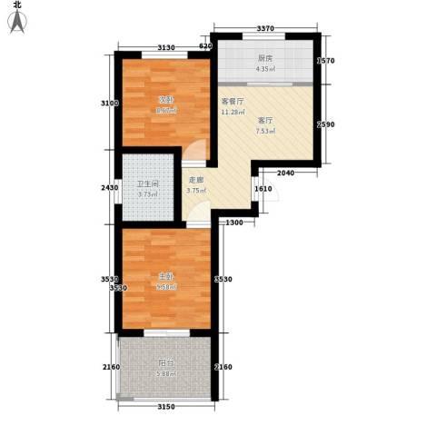 天赋庄园2室1厅1卫1厨64.00㎡户型图