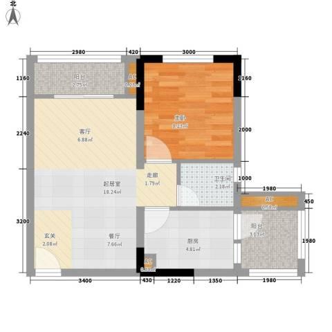 龙城国际1室0厅1卫1厨42.00㎡户型图