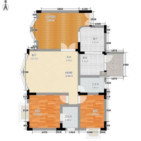 水木青华2室1厅2卫1厨99.00㎡户型图