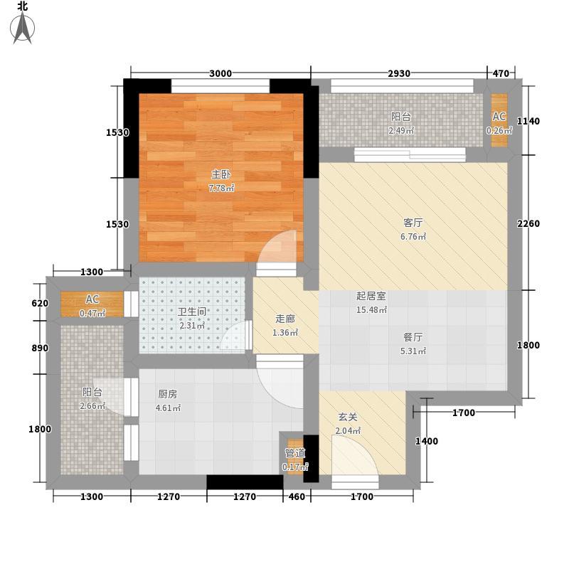 龙城国际39.05㎡一期标准层B2-B面积3905m户型