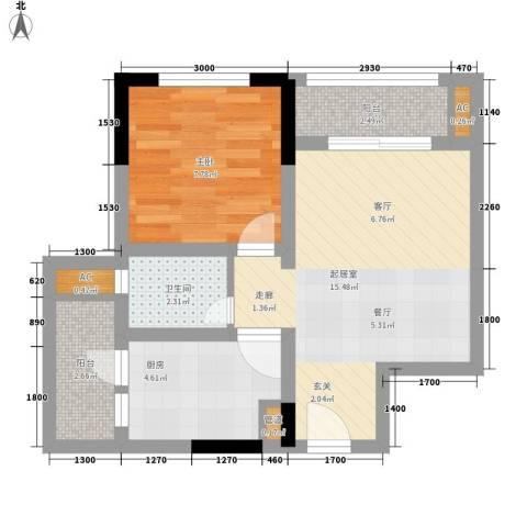 龙城国际1室0厅1卫1厨39.00㎡户型图