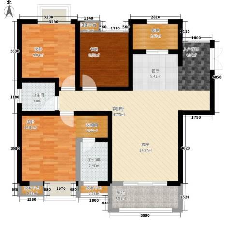 渝西印象3室1厅2卫1厨113.00㎡户型图