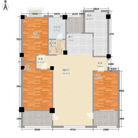 科教小区3室1厅1卫1厨147.00㎡户型图