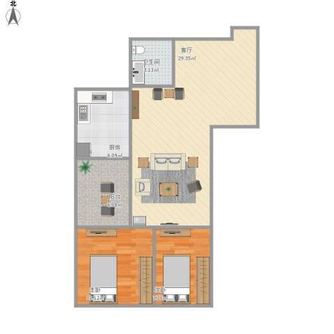 华天国际广场2室1厅1卫1厨83.00㎡户型图