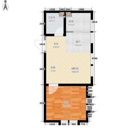 海河大道瑞海名苑1室0厅1卫1厨51.00㎡户型图
