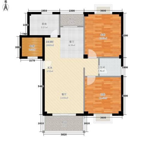 孚泰公寓2室0厅1卫1厨106.00㎡户型图