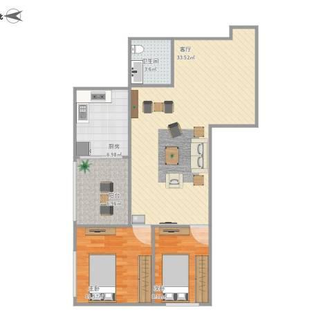 华天国际广场2室1厅1卫1厨95.00㎡户型图