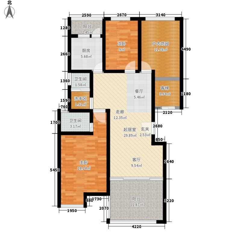 天元华雅花园114.52㎡2期C13栋标准层户型