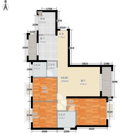 星光银河湾3室0厅2卫1厨113.00㎡户型图