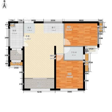 荷堂2室1厅1卫1厨116.00㎡户型图