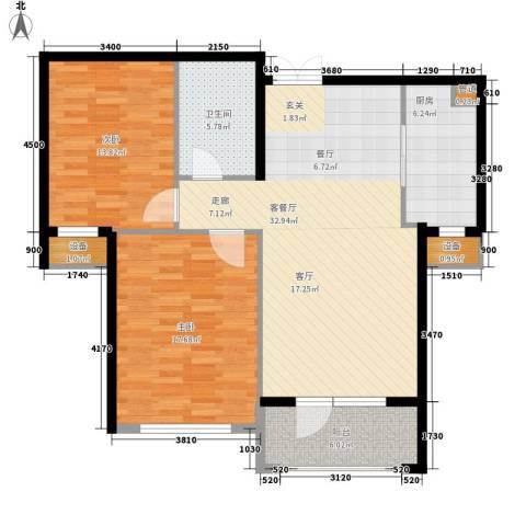 嘉里海楹台2室1厅1卫1厨86.00㎡户型图