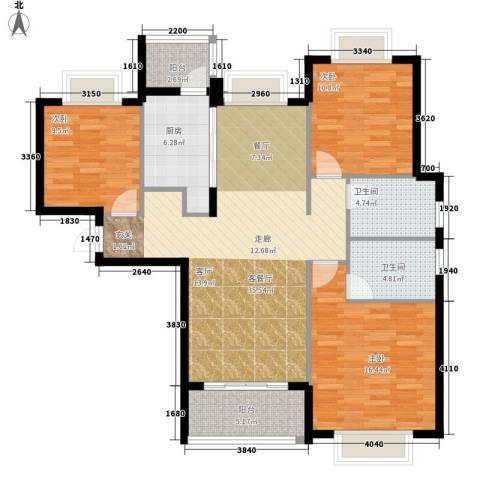 瑜翠园3室1厅2卫1厨108.00㎡户型图