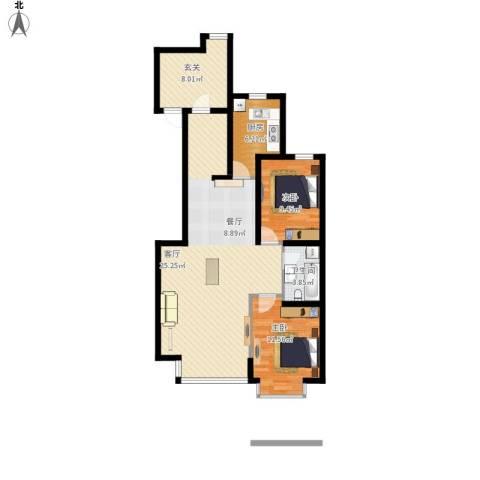 东亚・国际城2室1厅1卫1厨111.00㎡户型图