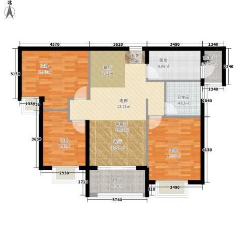 瑜翠园3室1厅1卫1厨93.00㎡户型图