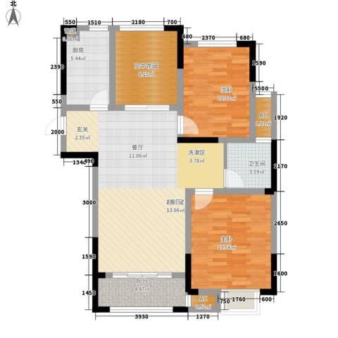 天鹅湾国际滨水社区2室0厅1卫1厨96.00㎡户型图