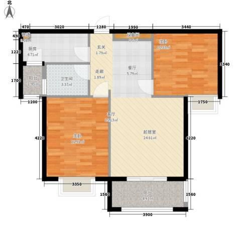 星光银河湾2室0厅1卫1厨82.00㎡户型图