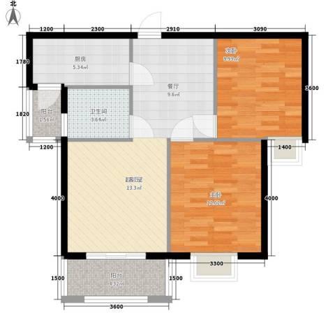 星光银河湾2室0厅1卫1厨78.00㎡户型图