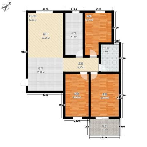新时代广场3室0厅1卫1厨149.00㎡户型图