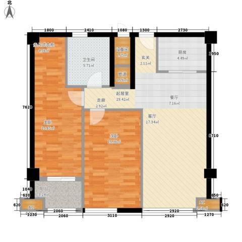 财富中心2室0厅1卫1厨86.00㎡户型图