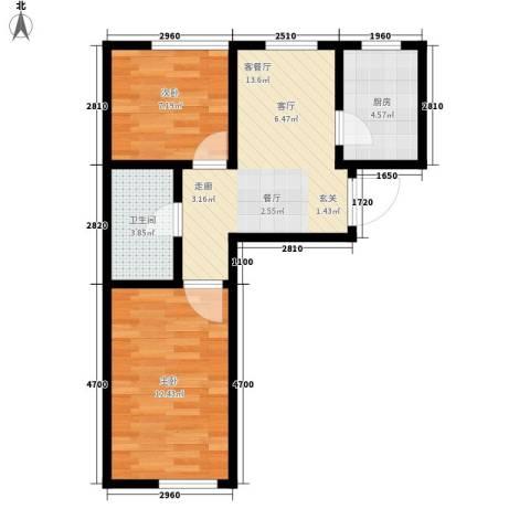 东方・新湖俪城2室1厅1卫1厨60.00㎡户型图