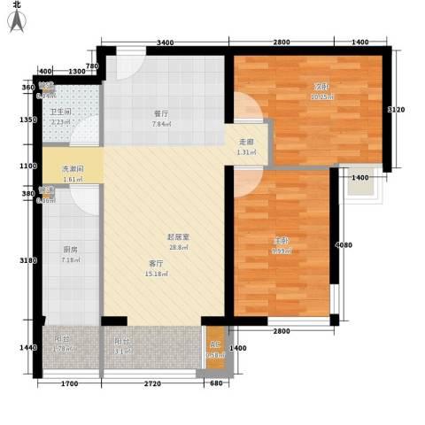 水岸龙庭2室0厅1卫1厨80.00㎡户型图