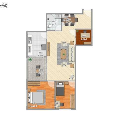 华天国际广场3室1厅1卫1厨95.00㎡户型图