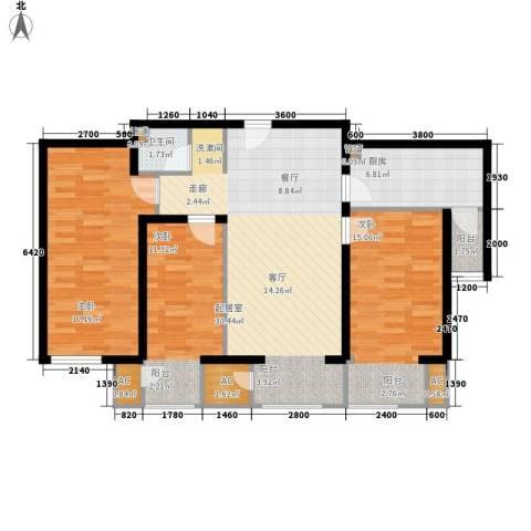 水岸龙庭3室0厅1卫1厨110.00㎡户型图