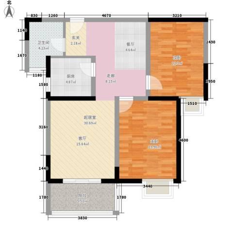 金桥澎湖湾2室0厅1卫1厨82.00㎡户型图