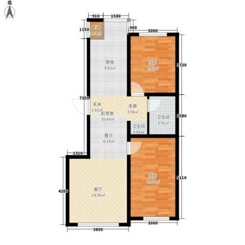 蒙东绒毛商贸城2室0厅1卫0厨89.00㎡户型图