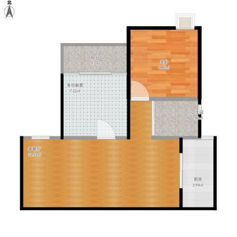 中南家园1室2厅1卫1厨64.00㎡户型图