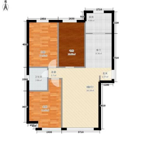 荷堂3室1厅1卫1厨104.00㎡户型图