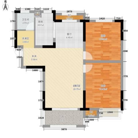 天鹅湾国际滨水社区2室0厅1卫1厨98.00㎡户型图