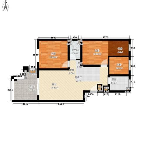 怡馨苑3室1厅1卫1厨105.00㎡户型图