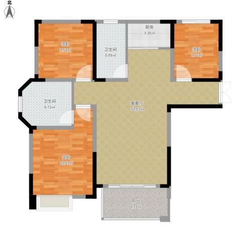 御景城3室1厅2卫1厨120.00㎡户型图