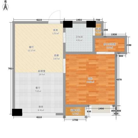 宝利国际1室0厅1卫0厨63.00㎡户型图