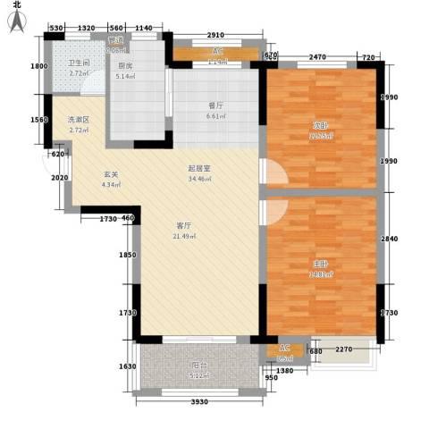 天鹅湾国际滨水社区2室0厅1卫1厨111.00㎡户型图