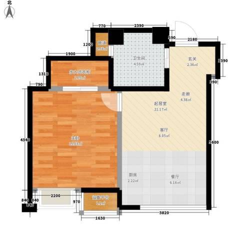 宝利国际1室0厅1卫0厨52.00㎡户型图